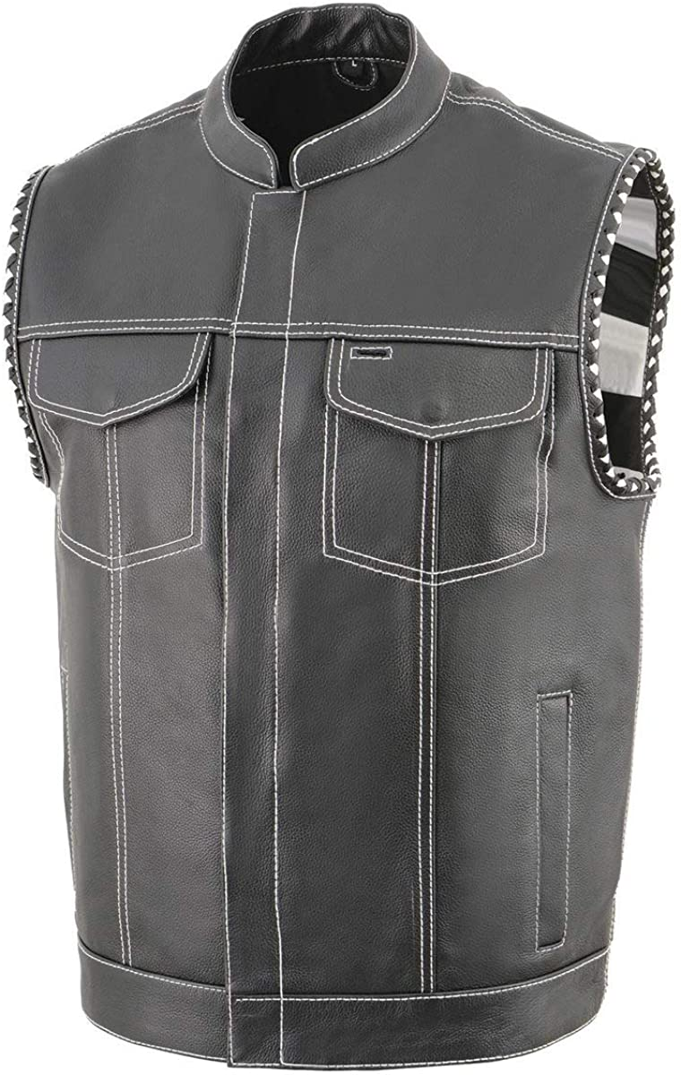 Milwaukee Leather MLM3509 Men's 'Old Glory' Black Leather Vest with White Stitching and Laced Arm Holes
