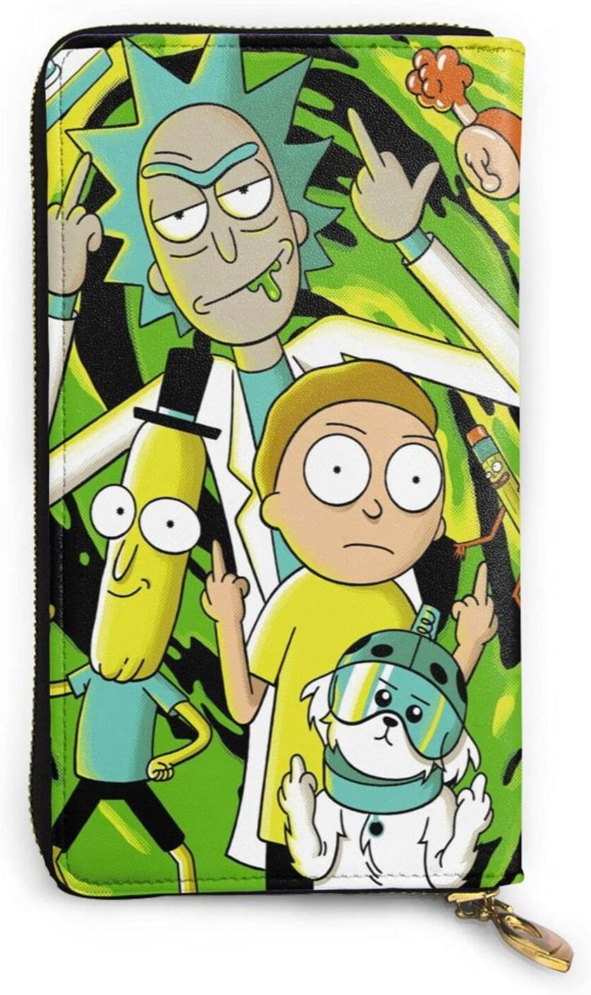 Rick & Morty Animation Zipper Real Cowhide Wallet Long Hand Coin Purse, Men'S And Women'S Fashion Wallet