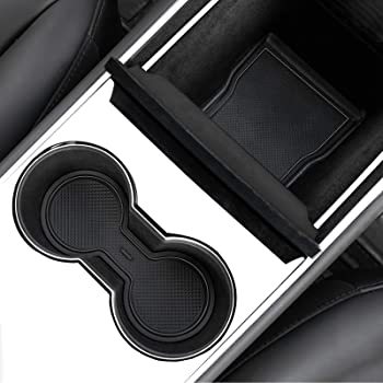 JKCOVER Door, Cup and Center Console Liner mat Compatible with Tesla Model 3 (2017 2018 2019 2020) Custom Fit Accessories (7+6)-pc Set (Black)