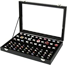 JIFF Jiffordwind Velvet Glass Ring Box 100 Slots Ring Organizer Holder Jewelry Display Storage Collector Earring Showcase Ring Tray, Ideal Gift for Christmas, Black