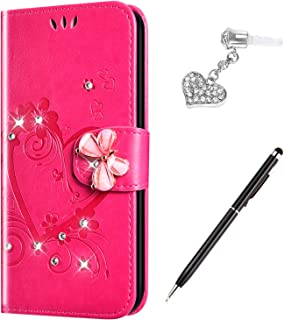Case for Galaxy J7/J7 Prime Case /J7 Sky Pro Case /J7 Perx Case (2017),Bling Diamond Embossing Love Butterfly Flower Flip ...
