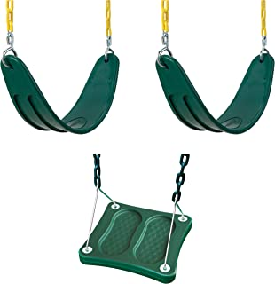 Swing-N-Slide WS 5109 Two Extreme Duty Green Swing Seats with a Stand-Up Swing Swing Set Refresher Bundle, Green