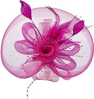 Women Fascinator Veil Flower Feather Hair Accessories Cocktail Party Headwear Fancy Hair Clip