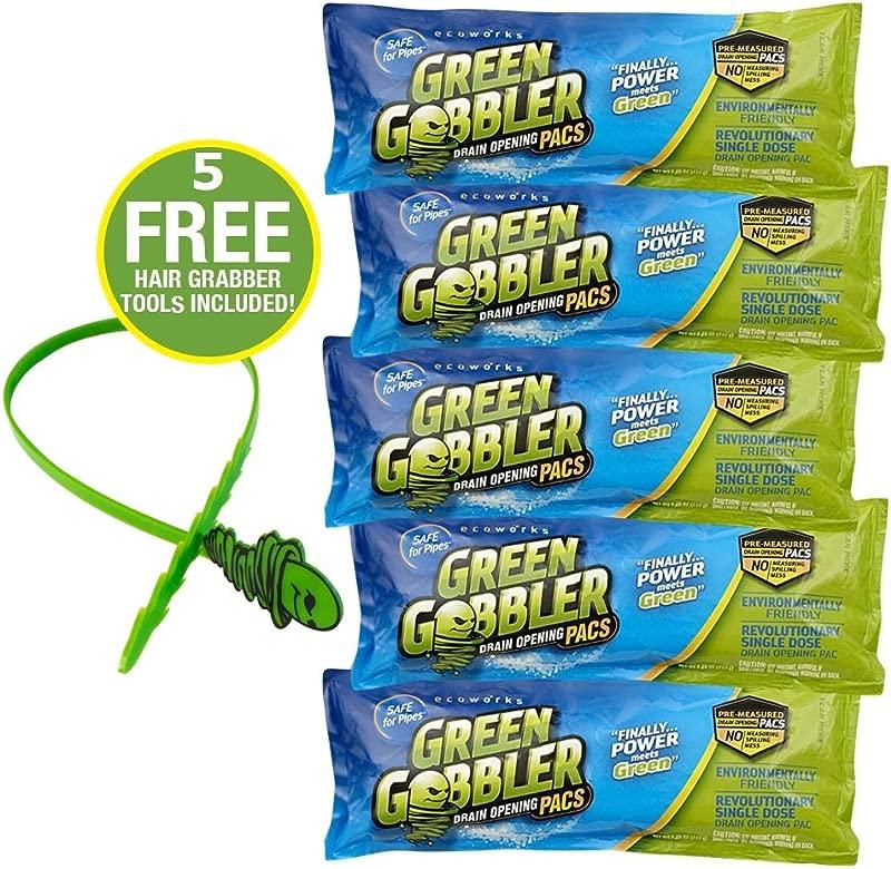 Green Gobbler Drain Opening PAC S 8 25 Oz 5 Pack Best Drain Cleaner And Drain Opener Best Clog Remover Hair Grabber Tool