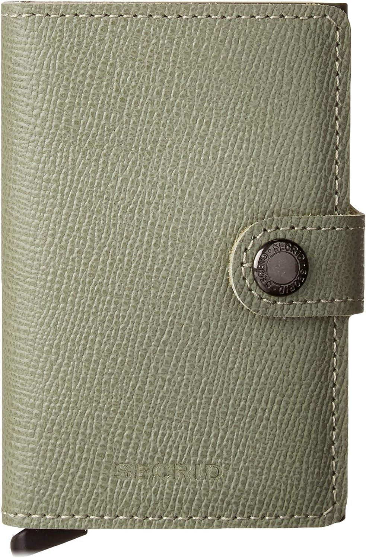 Secrid Mini Wallet Genuine Leather Crisple Pistachio Floral RFID Safe Card Case max 12 cards