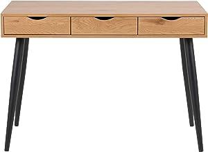 cagü: EXKLUSIVER DESIGN SCHREIBTISCH [VIBORG] WILDEICHE mit 3 SCHUBLADEN und SCHWARZE BEINE 110cm | Zeitloser Designklassiker im skandinavischen Design!