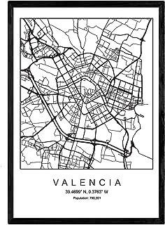 Nacnic Lámina Mapa de la Ciudad Valencia Estilo nordico en Blanco y Negro. Poster tamaño A3 Sin Marco Impreso Papel 250 g...