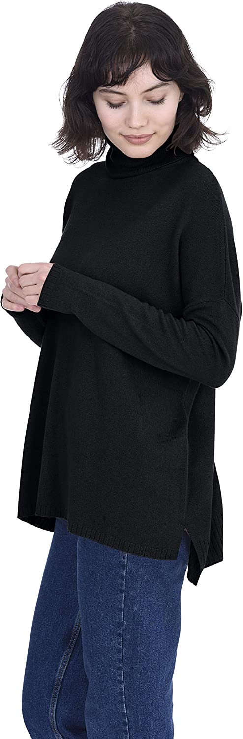 Cashmeren Oversized Tunic Side Slits Turtleneck Pullover 100% Pure Cashmere Long Sleeve Sweater for Women