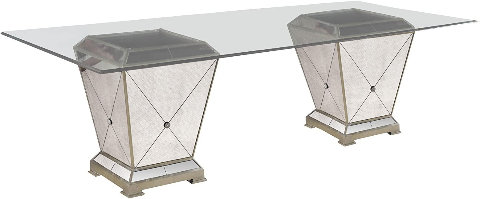 Amazon Com Bassett Mirror Borghese Dining Table Household 44lx44wx29h Antique Mirror Silver Furniture Decor