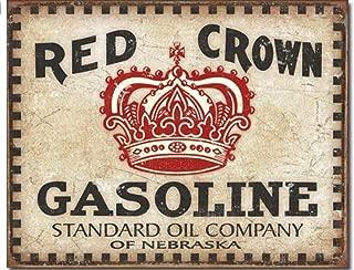 ShopForAllYou Vintage Decor Signs Red Crown Gasoline Metal tin Sign Gas Service Garage Retro Distressed Look