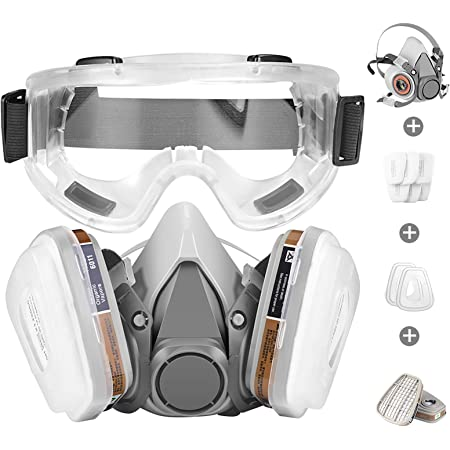 Respirator Mask,Half Facepiece Gas Mask with Safety Glasses Reusable Professional Breathing Protection Against Dust,Chemicals,Pesticide and Organic Vapors, Perfect for Painters and DIY Project