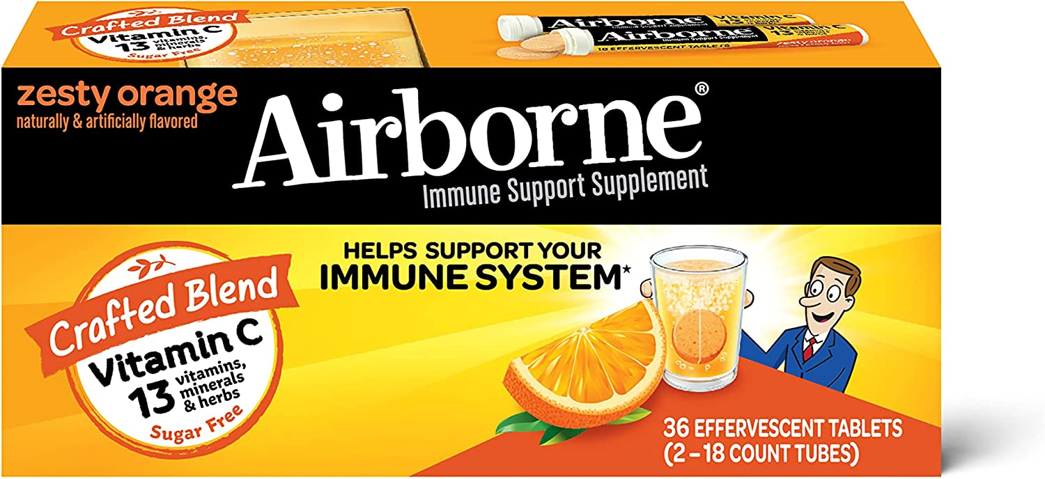 Airborne Vitamin C 1000mg (per serving) - Zesty Orange Effervescent Tablets (36 count in a box), Gluten-Free Immune Support Supplement With Vitamins A C E, ZINC, Selenium, Echinacea & Ginger : Health & Household
