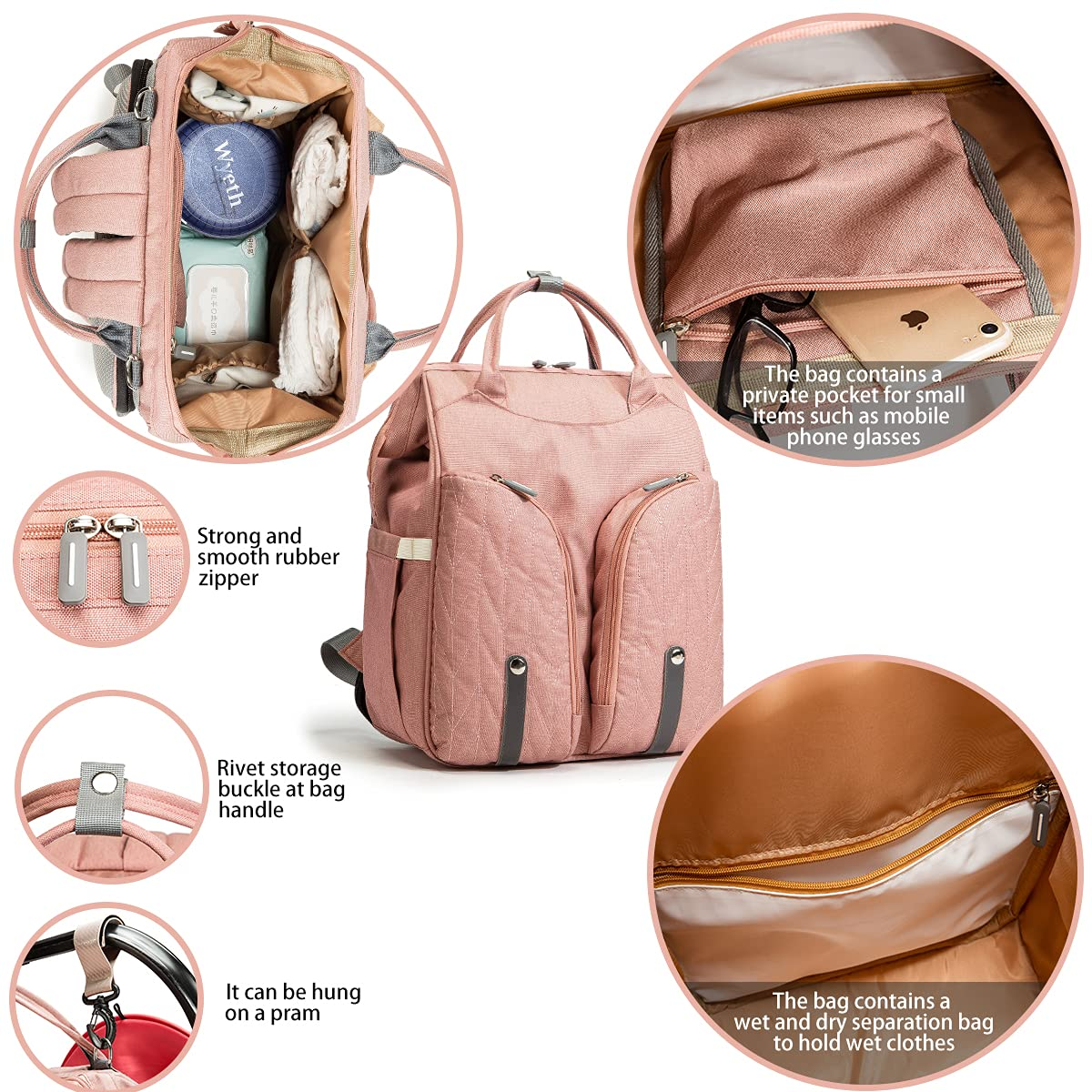 Diaper Bag Backpack, FKNZUA Multifunctional Baby Folding Bed Travel Backpack, Mammy Diaper Bag Large Capacity, Waterproof and Stylish, Pink