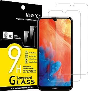NEW'C 2-pack skärmskydd med Huawei Y7 Pro 2019, Y7 2019, Y7 Prime 2019 – Härdat glas HD klar 9H hårdhet bubbelfritt