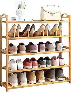 Chunse Porte-Chaussures à 5 Niveaux, Montage Rapide Armoire à Chaussures en Bambou, Organisateur de Chaussures à sauver po...
