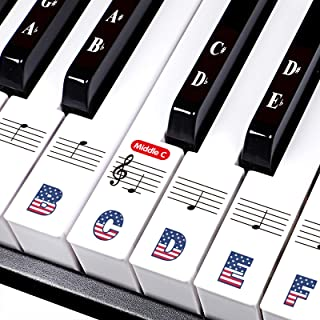 Piano Stickers for 88/61/54/49/37 Key. Large Bold Letter Piano Stickers. Multi-Color,Transparent,Removable