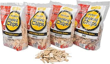 Smoking Wood Chips 8 lb Value Pack Gift Set (Apple, Hickory, Oak, Alder)- 4 Pack of Coarse Kiln Dried BBQ Chips- 100% All Natural Barbecue Smoker Shavings- 2lb Bag Variety Combo Set