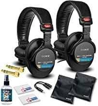 Sony MDR-7506 Headphones Professional Large Diaphragm Headphone (2 Pack) Bundle with Headphone Cleaning Solution + More