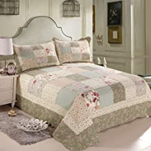 Quilted Bedspread Throw Summer Patchwork Quilt Double-Sided Reversible Bedding 3-Piece Blanket Multifunction Double Bed Co...