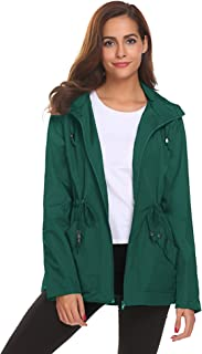 Romanstii Rain Jacket Women Long Mesh Lined Raincoat Waterproof Lightweight Trench Coat for Outdoor Trip