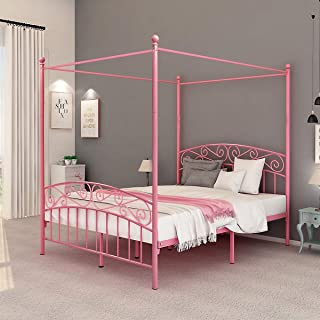 DUMEE Queen Size Metal Canopy Bed Frame Platform Sweet Pink Style Mattress Foundation with Headboard and Footboard Girl Princess Beds Box Spring Replacement Pink