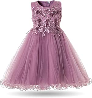 Ling-long Flower Dress Wedding Party Dresses for Kids Pearls Formal Ball Gown Evening Baby Outfits Tulle Girl Frocks