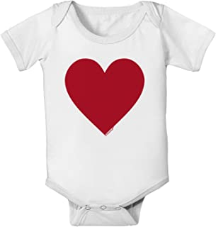 TOOLOUD Big Red Heart Valentine's Day Baby Romper Bodysuit (6-Month, White)