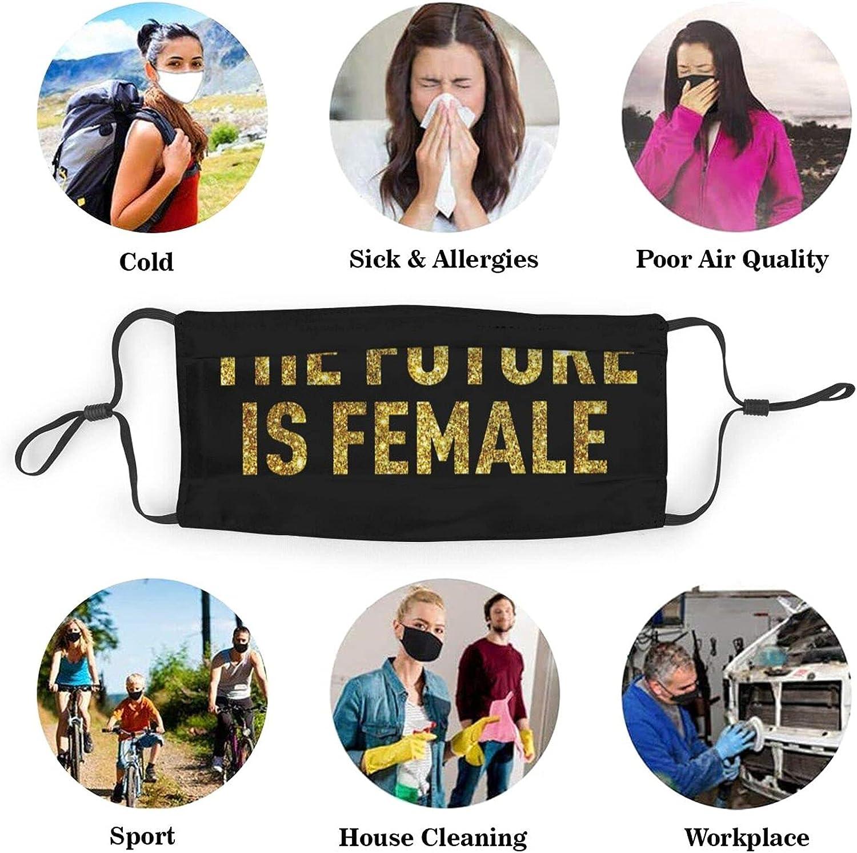 Unisex Adult The Future is Female Feminism Gold Face Mask,Reusable Face Cover,Decorative,Novelty Balaclava Bandana Cloth