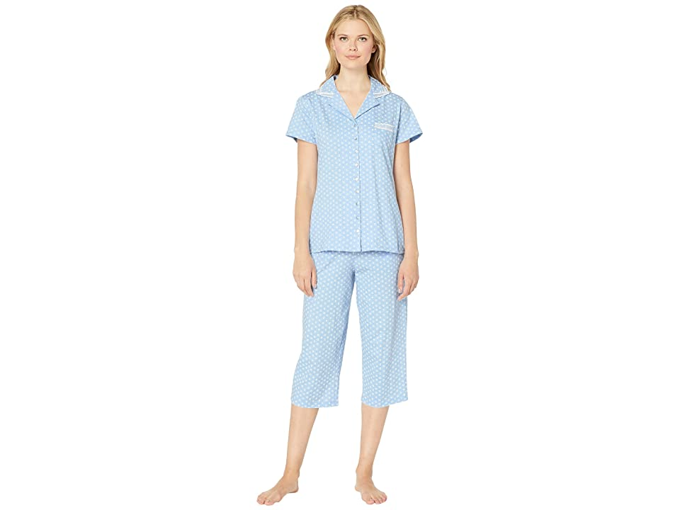 Eileen West Cotton Jersey Notch Collar Pajama Set (Peri Ground Floral Geo) Women