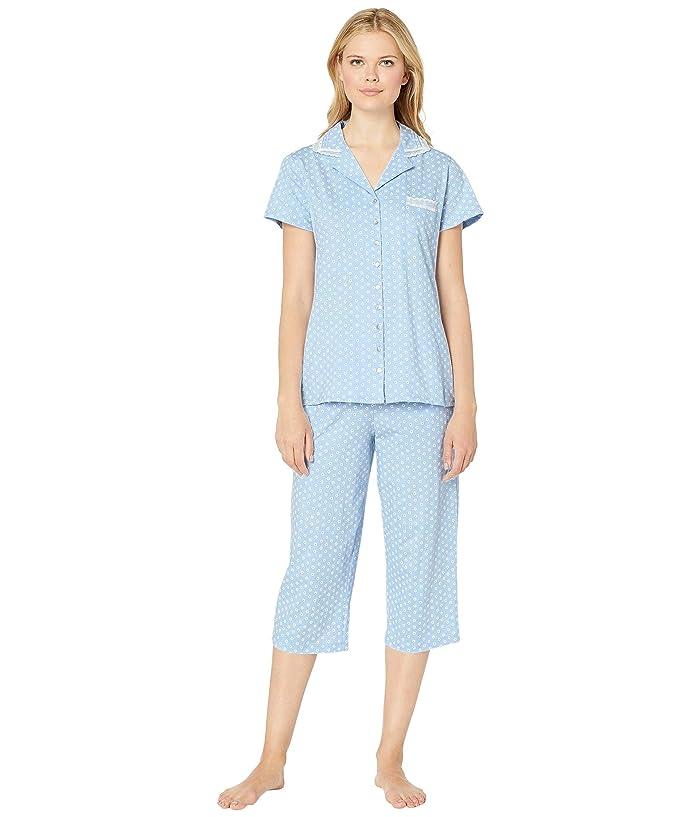 Eileen West Cotton Jersey Notch Collar Pajama Set (Peri Ground Floral Geo) Women