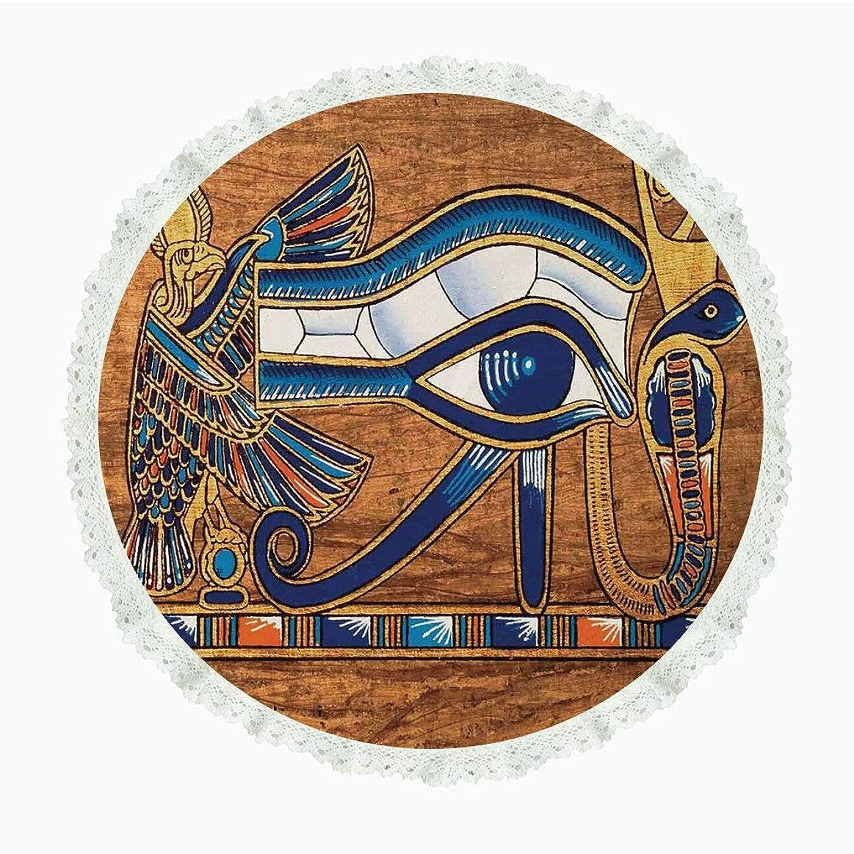 インフルエンザ牛雑品iPrint 36インチ ラウンド ポリエステル リネン テーブルクロス エジプトの装飾 エジプトの古代の歴史的なキャラクターの要素 寺院の古いレトロな文化アート マルチ ディナーキッチン ホーム装飾 Round 55