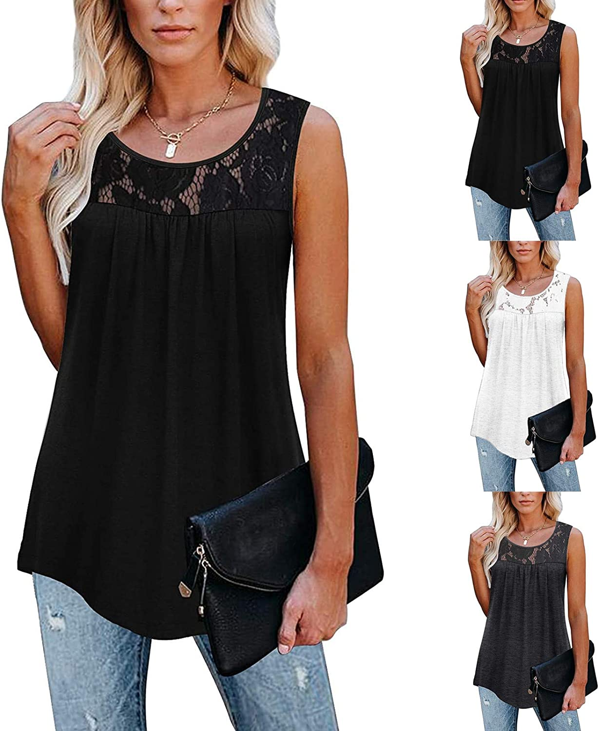 Aukbays Womens Tank Tops,Womens Summer Tops Casual Solid Button Pleated T-Shirt Blouse