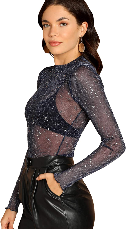 Floerns Womens Star Mesh See Through Mock Neck Long Sleeve Tops Tee T-Shirt