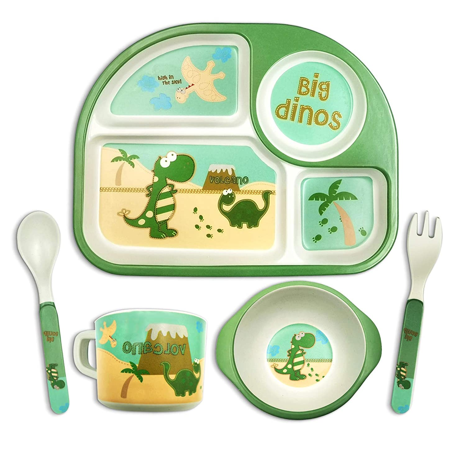 Toddler Dishes Dinnerware Sets - Dinosaur Kids Plates Bowl Sets Suction Plate for Weaning Babies Bamboo Toddler Dishes Baby Toddler Self-Feeding Plate