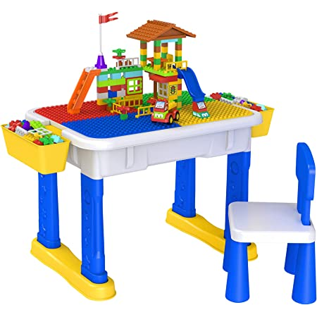 Kids Activity Table Multi-Functional Building Blocks Learning Table Childrens Fight Block Building Blocks Game Table Children Furniture Accessories with 4 Storage Boxes Blue