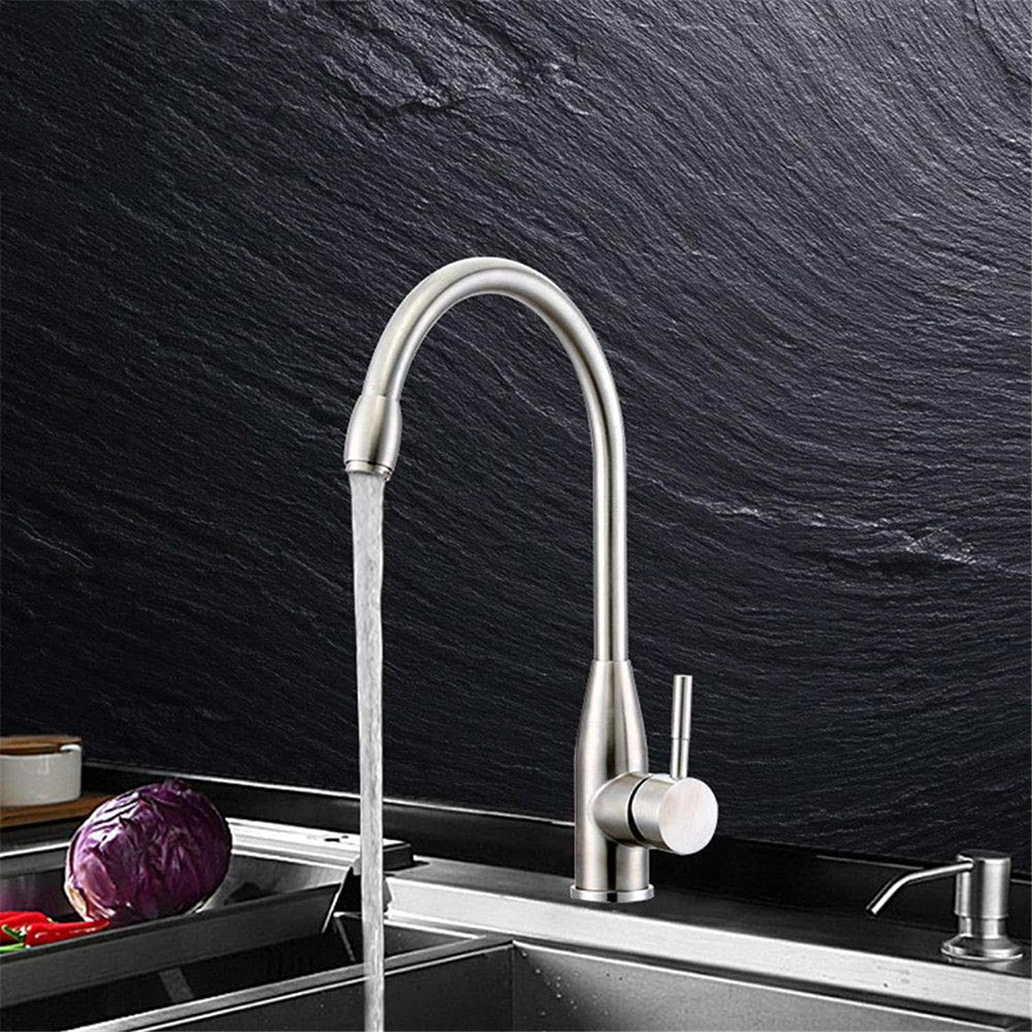 YAWEDA Sus304 Stainless Steel Faucet Kitchen Faucet Wire Drawing Cold and Hot Water Mixer Faucet Kitchen Sink Cold and Hot Water Mixer Faucet Single Handle Belt Aerator