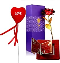 Furnish Marts 24K Gold Plated Rose 10 Inch with Gift Box & Bag - Best Gift for Loved One, Special for Valentine Day, Father Day, Anniversary & Birthday Gift (Pink)