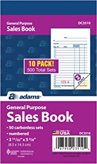 Adams General Purpose Sales Book, 2-Part, Carbonless, White/Canary, 3-11/32