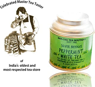 San-Cha Peppermint White Tea, made with real peppermint leaves, cool & refreshing tea, Richest in Antioxidants, Serves 25