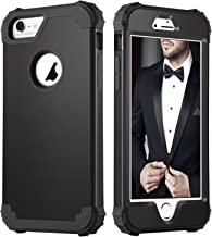 DUEDUE iPhone 6 Case, iPhone 6S Case, Heavy Duty Rugged Shockproof Drop Protection Slim 3 in 1 Hybrid Hard PC Covers Soft Silicone Bumper Protective Case for iPhone 6S/ iPhone 6 for Men, Black
