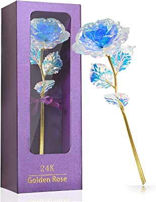 Galaxy Rose Flower Gift Crystal, 24K Golden Foil Rose with Gift Box, Valnetines Day Gifts for Women Men, Gifts for Valentines Day, Mother's Day, Thanksgiving Day, Christmas, Birthday (White Blue)