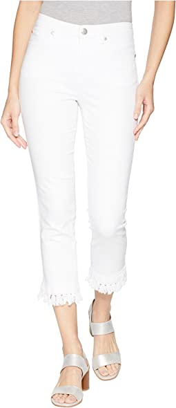 "Soft Touch Denim 25"" Five-Pocket Capris with Tassels in White"