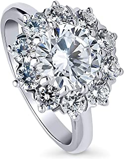 BERRICLE Rhodium Plated Sterling Silver Round Cubic Zirconia CZ Statement Flower Halo Engagement Ring 3.14 CTW
