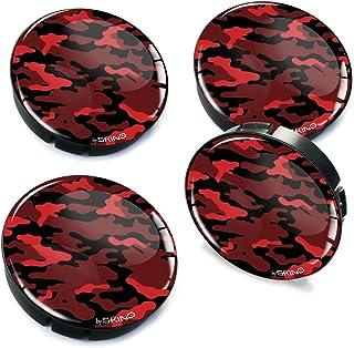 SkinoEu® 4 x 60 mm silikonowe dekielki do felg, kamuflażu, czerwone kołpaki, dekielki na koła, dekielki do samochodu, tuni...