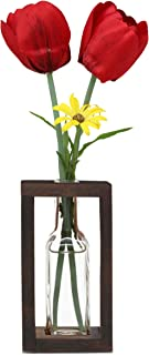 The Mammoth Design Flower Vases Bud Pots in Wooden Rack | Rustic, Vintage Home Decor | Windowsill Accessory, Wedding, Kitchen, Dining Table Centerpiece