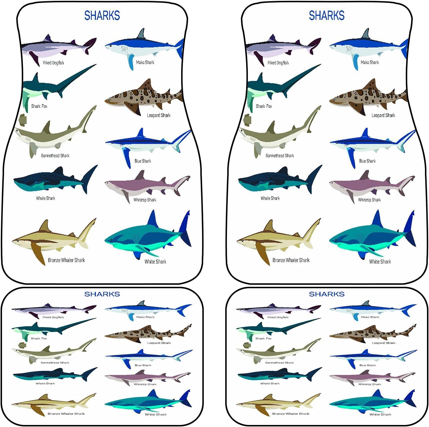 Max 90% OFF VINISATH Front Rear Car Mats Cheap bargain Set of Sharks Different Kind 4