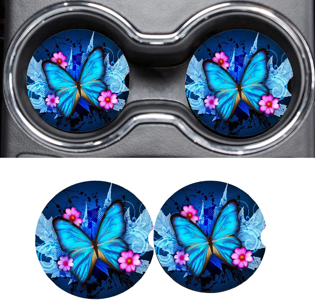 Houston Mall Car Accessories Coasters for Flower Translated Butterfly Drinks Absorbent