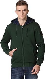 t-base Green Solid Hooded Sweatshirt-Sweatshirts for Men