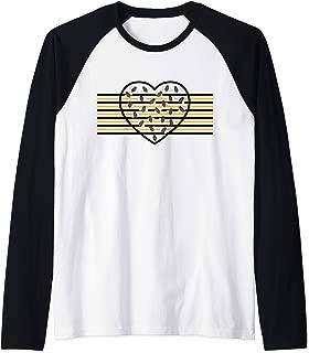 Busy Bee Heart with Stripes Raglan Baseball Tee