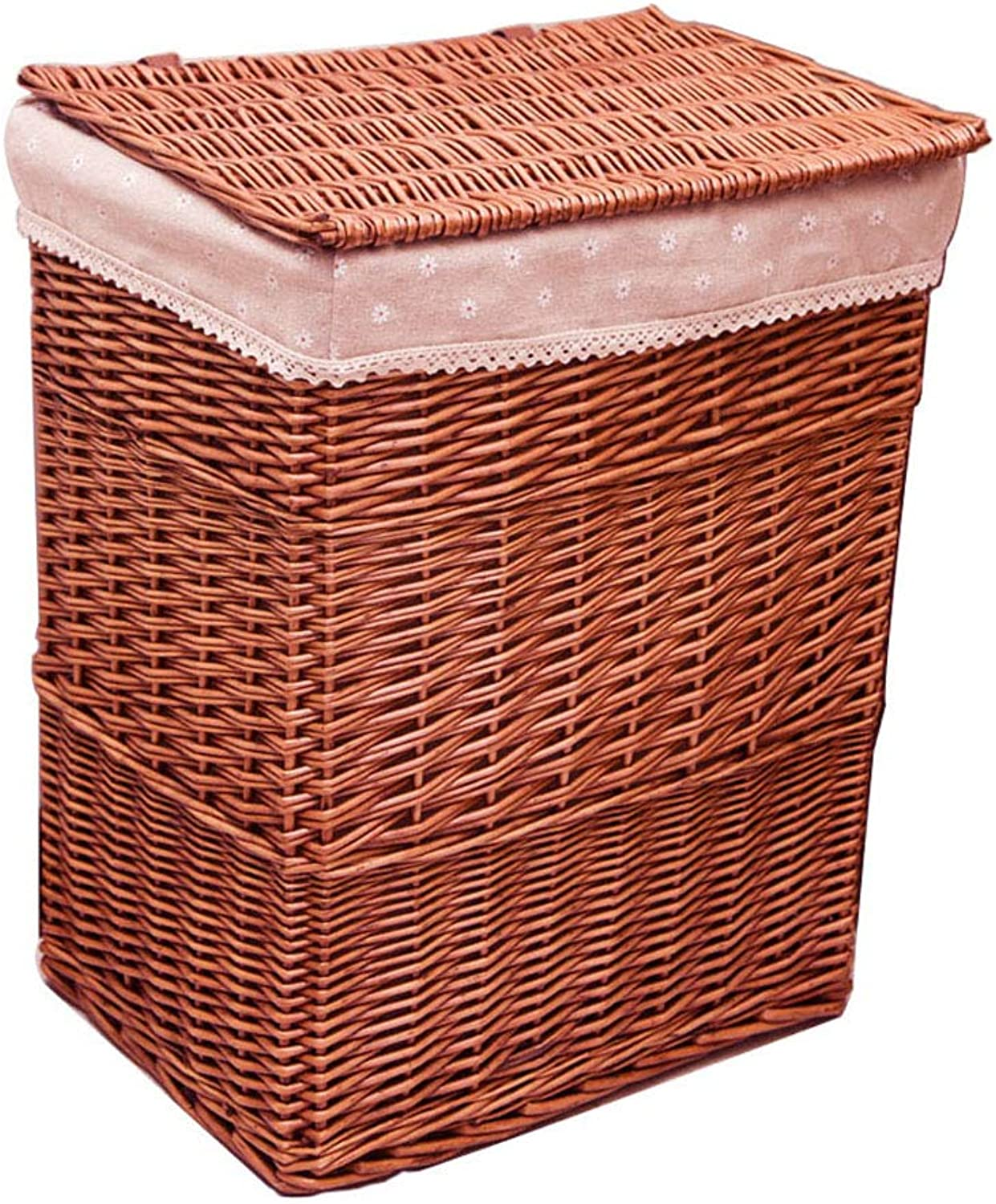 LF Rattan Storage Basket,Clothing Storage Box Wicker Woven Basket with Cover, for Bedroom Toilet (color   Brown)